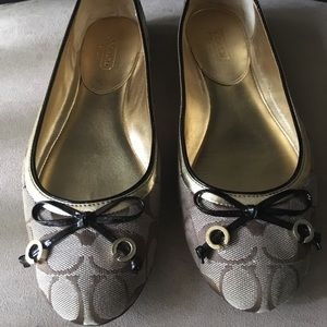 PRE-LOVED AUTHENTIC COACH CANVAS SIGNATURE FLATS